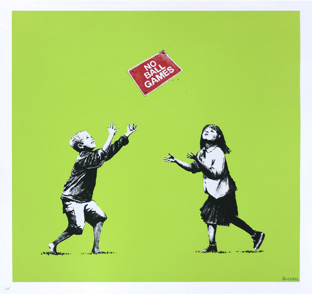 "Banksy ""No Ball Games"" Green Signed Print"