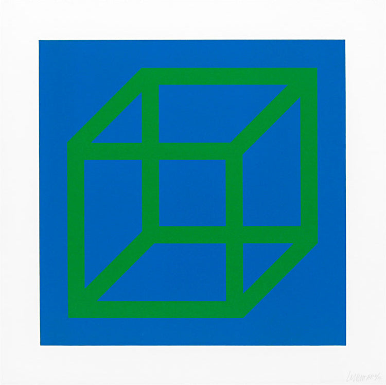 "Sol Lewitt ""Open Cube in Color on Color"" Green/Blue"