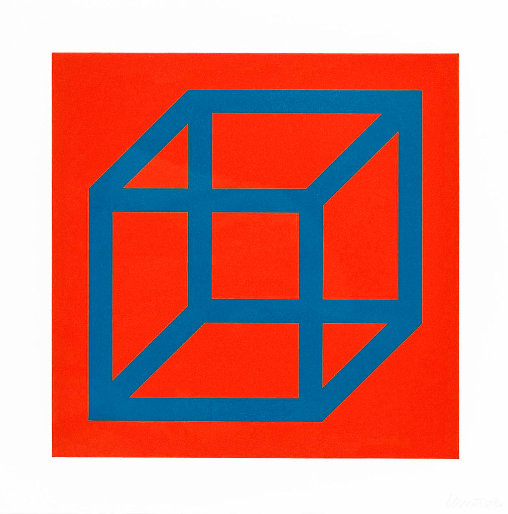 "Sol Lewitt ""Open Cube in Color on Color"" Signed Print"