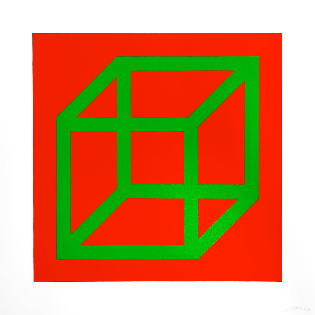 "Sol Lewitt ""Open Cube in Color on Color"" Green/red"