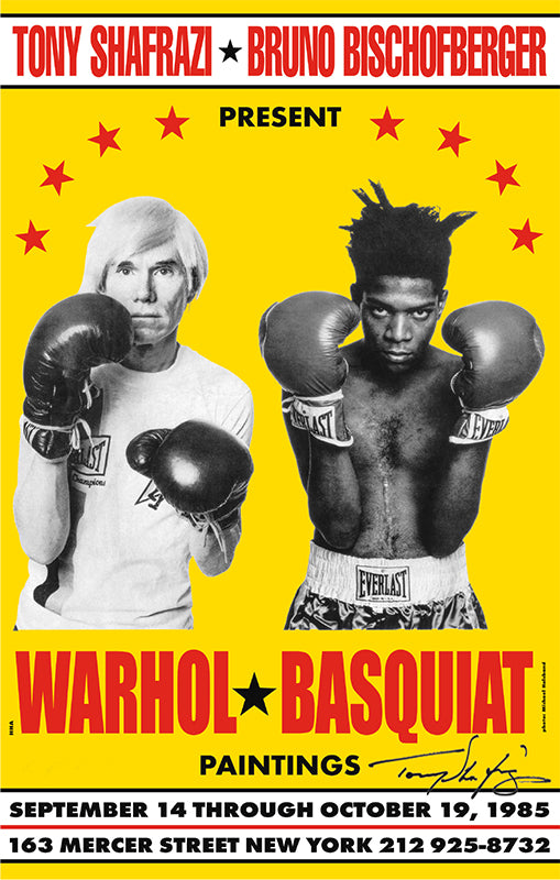 Warhol Basquiat 1985 Limited Edition Poster, Signed by Tony Shafrazi