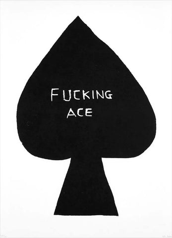 David Shrigley Fucking Ace Poker Card Wood Cut Print