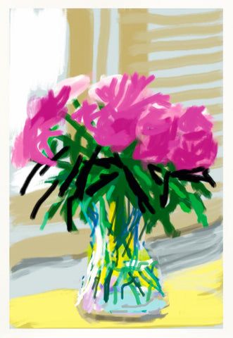 "David Hockney ""Untitled"" Peonies iPhone Drawing. My Window No. 535."