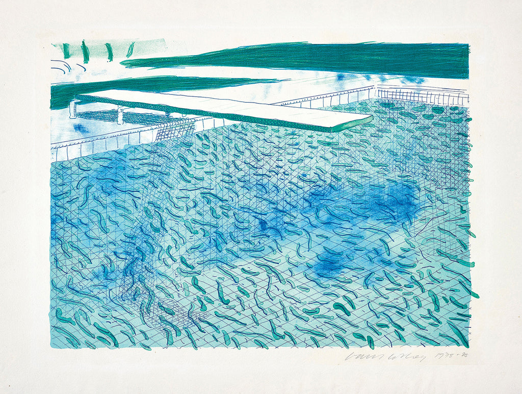 Lithograph of Water Made of Lines, a Green Wash, and a Light Blue Wash (Swimming Pool) Print