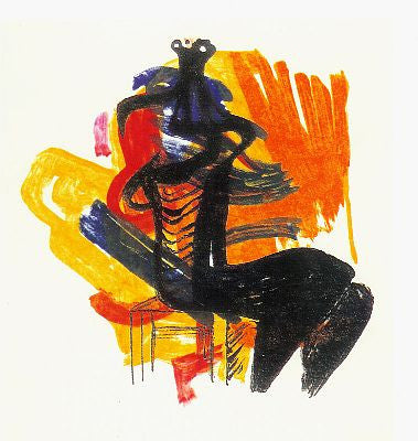 "Henry Moore ""Black Seated Figure on Orange Ground"""