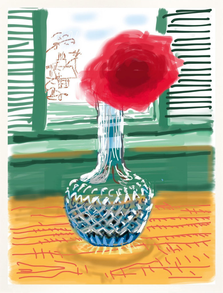 "David Hockney ""Untitled"" Rose iPad Drawing. My window No. 281."