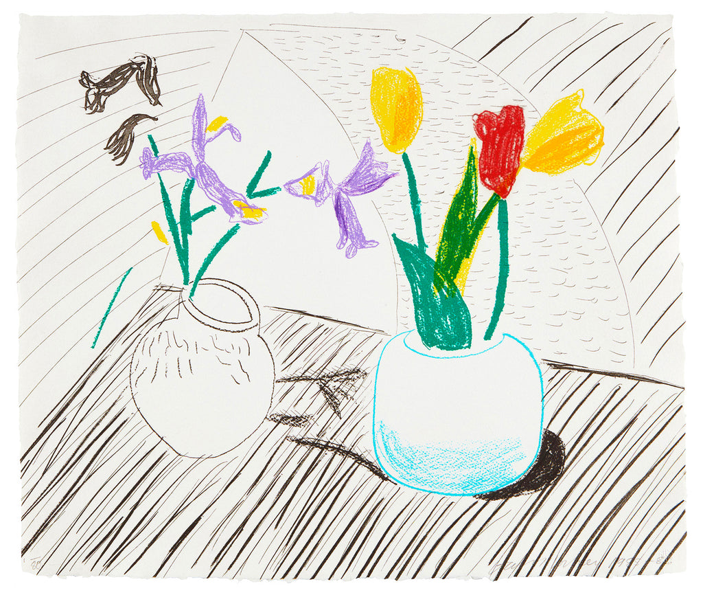 "David Hockney ""White Porcelain"" Flowers Signed Print"
