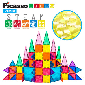PicassoTiles - Mini 60 Piece 3D Magnetic Building Blocks - Mini Diamond Series