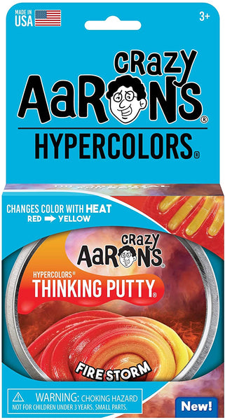 "Crazy Aaron's Color Changing Putty - 4"" Firestorm Hypercolor - Changes Color with Heat, Never Dries Out"