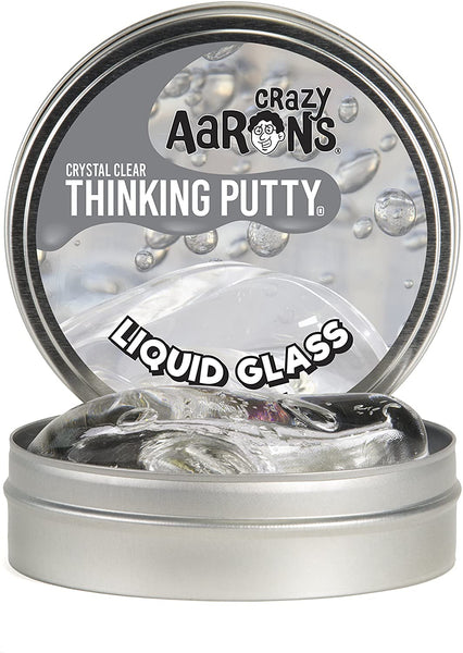 Crazy Aaron's Thinking Putty 4 Inch Tin (3.2 oz) - LIQUID GLASS - See-Through Putty, Soft Texture - Never Dries Out