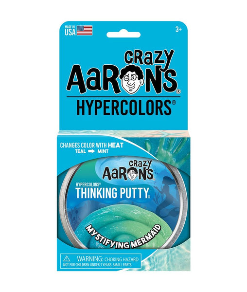 "Crazy Aaron's Thinking Putty 4"" Tin - Mystifying Mermaid Hypercolor - Color Changing Putty, Firm Texture - Never Dries Out"