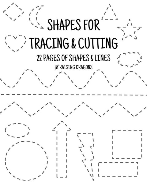 Shapes Tracing and Cutting Activity Printable