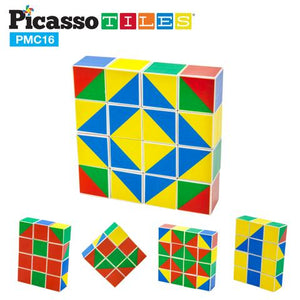 PicassoTiles Mix and Match 16 Piece Magnetic Puzzle Cube Set