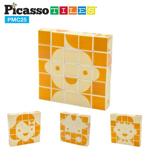 PicassoTiles Mix and Match 25 Piece Magnetic Puzzle Cube Set