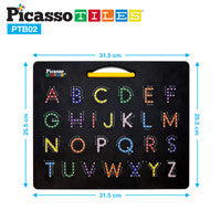 PicassoTiles 2-in-1 Double Sided Magnetic Drawing Board ABC A-Z Letter, Number, and Freestyle Writing Playboard