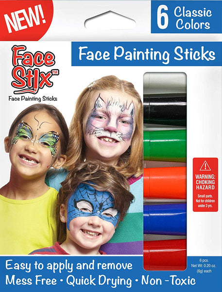 Face Paint Stix, Super Quick Drying, Non-Toxic, Set of 6 Classic Colors by Kwik Stix