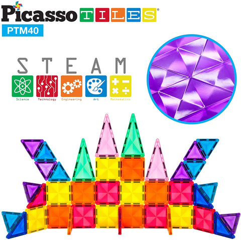 PicassoTiles - Mini 40 Piece 3D Magnetic Building Blocks - Mini Diamond Series