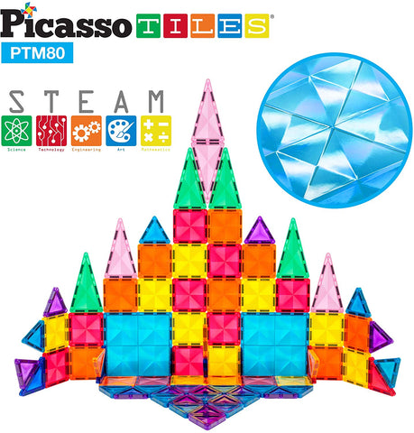 PicassoTiles - Mini 80 Piece 3D Magnetic Building Blocks - Mini Diamond Series