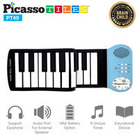 PicassoTiles 49-Key Roll Up Kids Piano w/Speaker