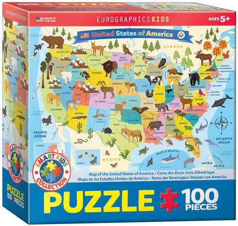 EuroGraphics Illustrated Map of The United States of America 100-Piece Puzzle