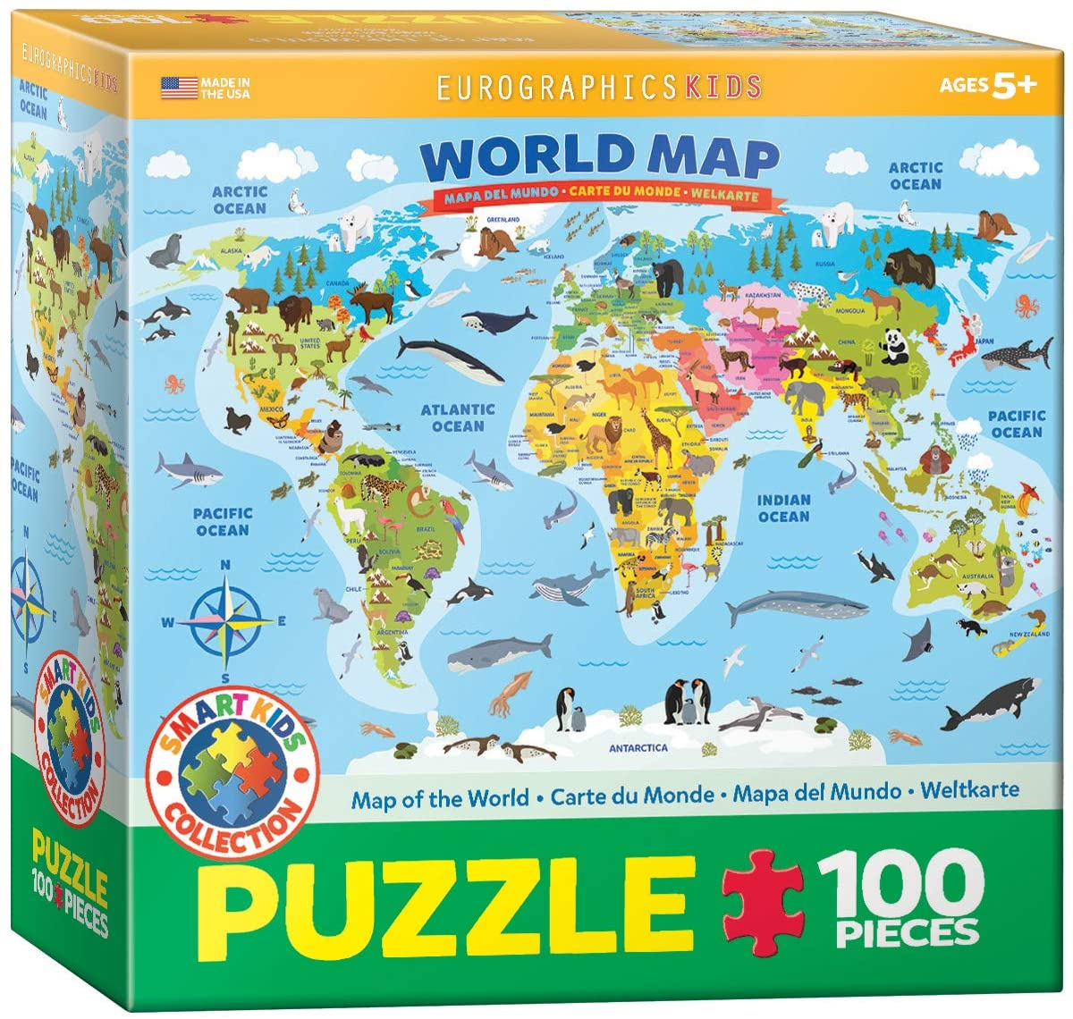 EuroGraphics Illustrated Map of The World 100-Piece Puzzle