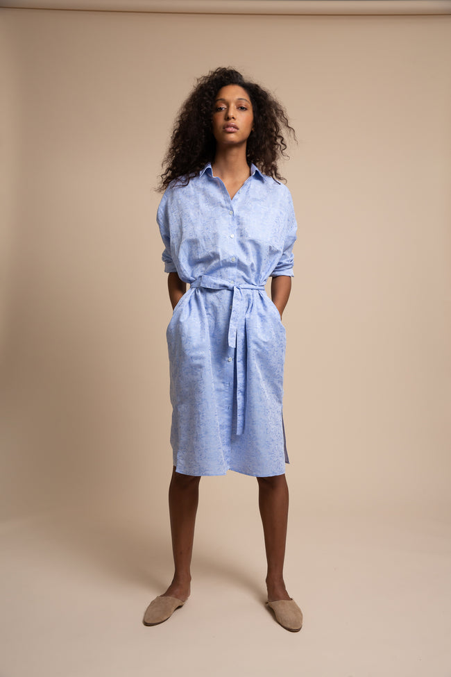 Our riff on the classic button-down shirtdress, the Sullivan is just a bit oversized with pleated details at the back, made from deadstock floral oxford from our archives.