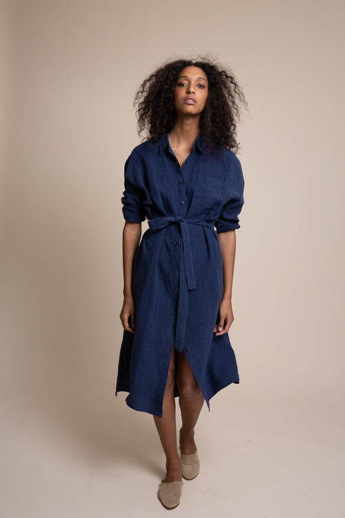 Our riff on the classic button-down shirtdress, the Sullivan is just a bit oversized with pleated details at the back. Made in the USA from sustainable washed linen.