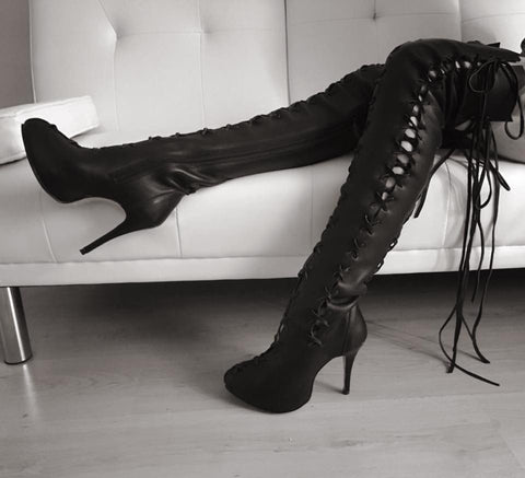 Ms Perfect Black Leather Over Knee High Boots