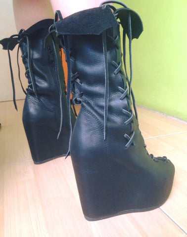 Ms Perfect Black Ankle Wedges Boots