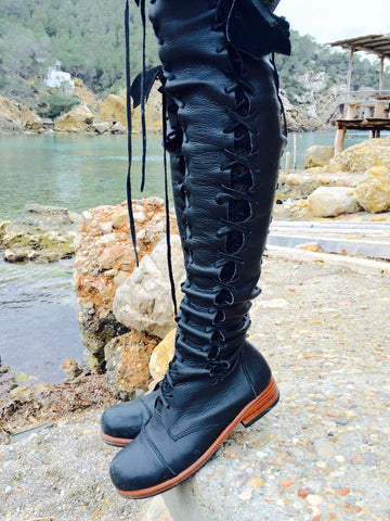 'Clockwork Fairy' Knee High Boots in Black with Tan Soles