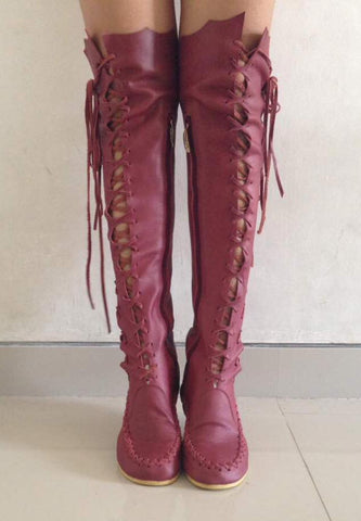Dusty Rose Knee High Boots