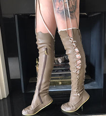 'Mushroom' Vegan Pleather Knee High Boots for Pre Order