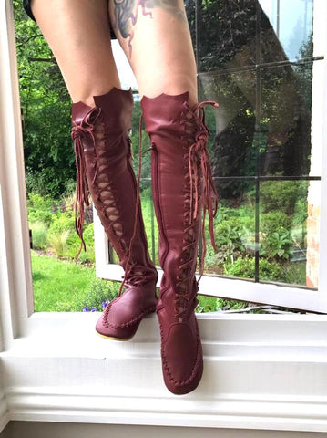 Maroon Oxblood Leather Knee High Boots