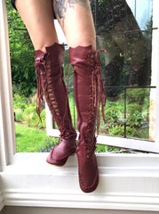 Maroon Leather Knee High Boots