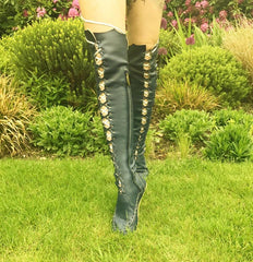 Black Vegan Pleather Knee High Boots
