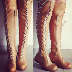 'Clockwork Fairy' Knee High Boots in Tan Vegan Faux Leather