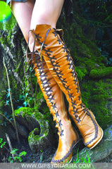 Tan Knee High Leather Boots With Madagascar Lacing