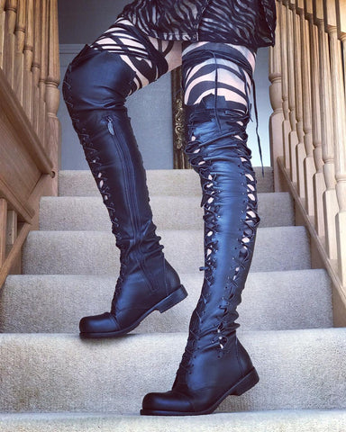 'Clockwork Fairy' Over Knee High Boots in Black with Black Soles