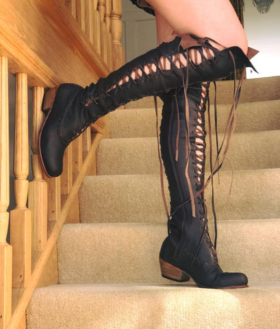 Victorian Gipsy Dharma knee high boots for Pre Order