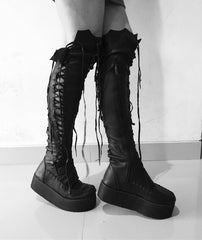 Gothic Black Leather Knee High Platform Boots