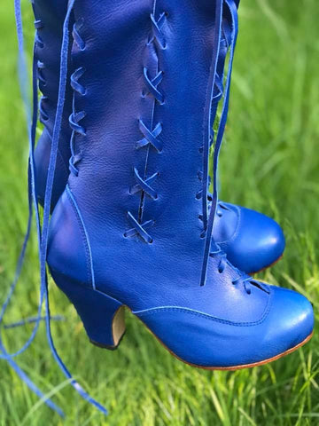 Cobalt Blue Victorian Ankle Boots for Pre Order