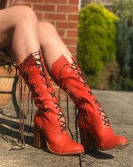 Victorian Ankle boots in Rusty Orange with Brown Laces for Pre Order
