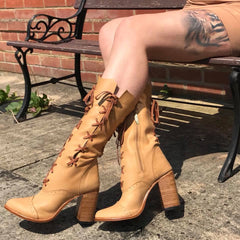 Victorian Ankle boots in Tan for Pre Order
