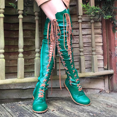 'Clockwork Fairy' Knee High Boots in Emerald Green with Tan laces