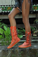 Orange Ankle Boots