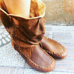 'Fairy Slippers' Antique tan with gold Ankle Boots