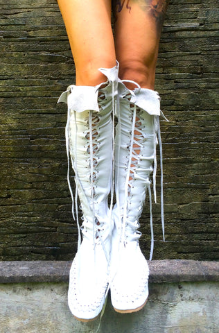Isla Blanca Knee High Leather Boots for Pre Order