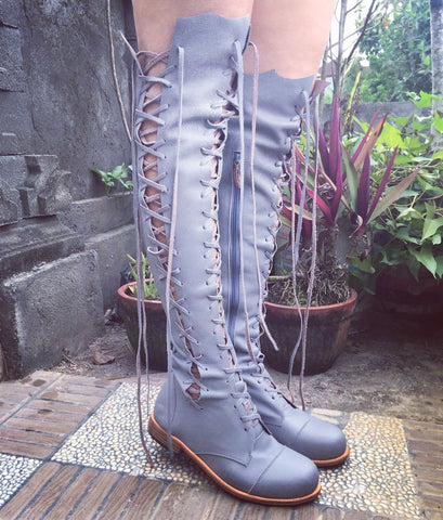 'Clockwork Fairy' Knee High Boots in Grey