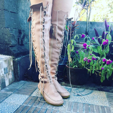 Nude Knee High Leather Boots