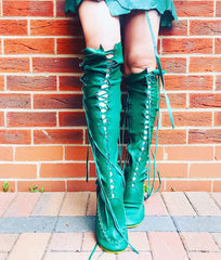 Emerald Green Knee High Boots